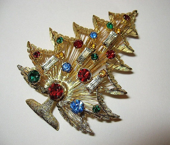Rhinestone Christmas Tree Brooch Brooks