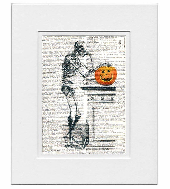 Halloween SKELETON with Pumpkin - ORIGINAL ARTWORK print over an Upcycled Vintage Dictionary page Book art - Free Domestic Shipping