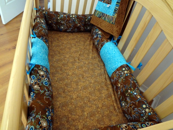 4 piece crib bedding set. Ready to Ship. Brown and Blue.