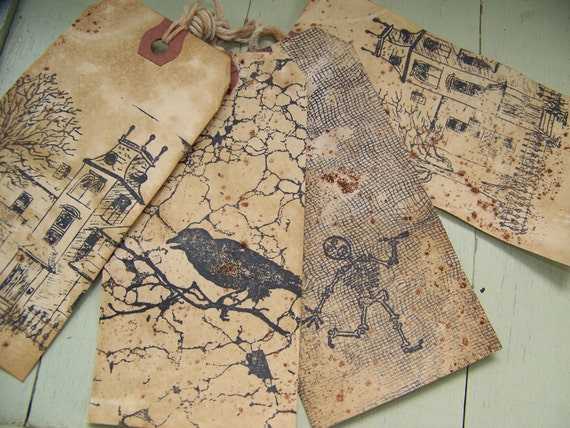 4 Vintage Halloween Hang Tags Altered Primitive