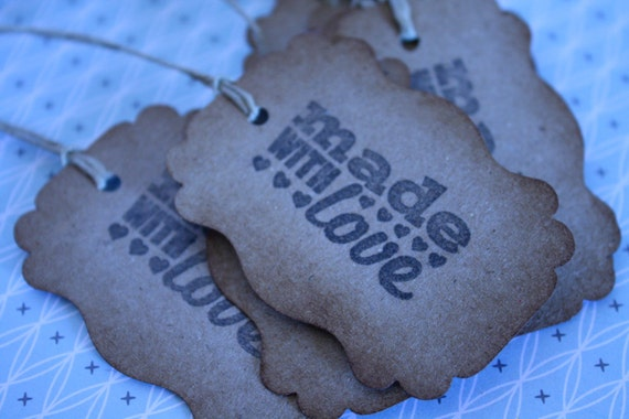 6 Kraft Paper Hand Stamped made with love gift tags Printed with black pigment ink and natural twine