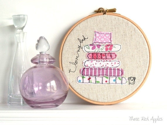 "Freehand Embroidery Hoop Art. 'I love my bed' Textile Artwork in pink - 6"" hoop"