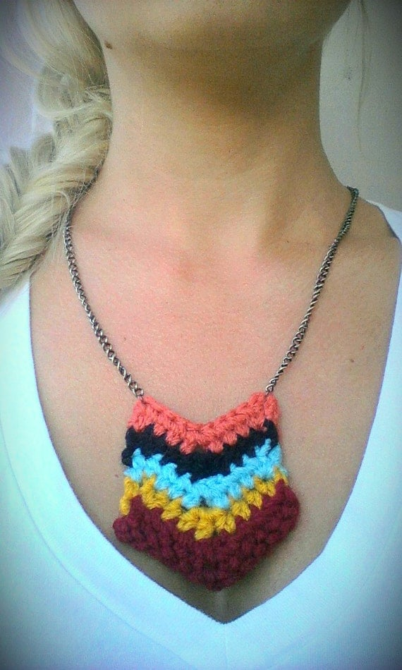 Crochet Chevron Stripe Pendelton Necklace- you choose the colors