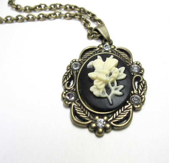 Cameo Necklace Vintage Style Butterfly