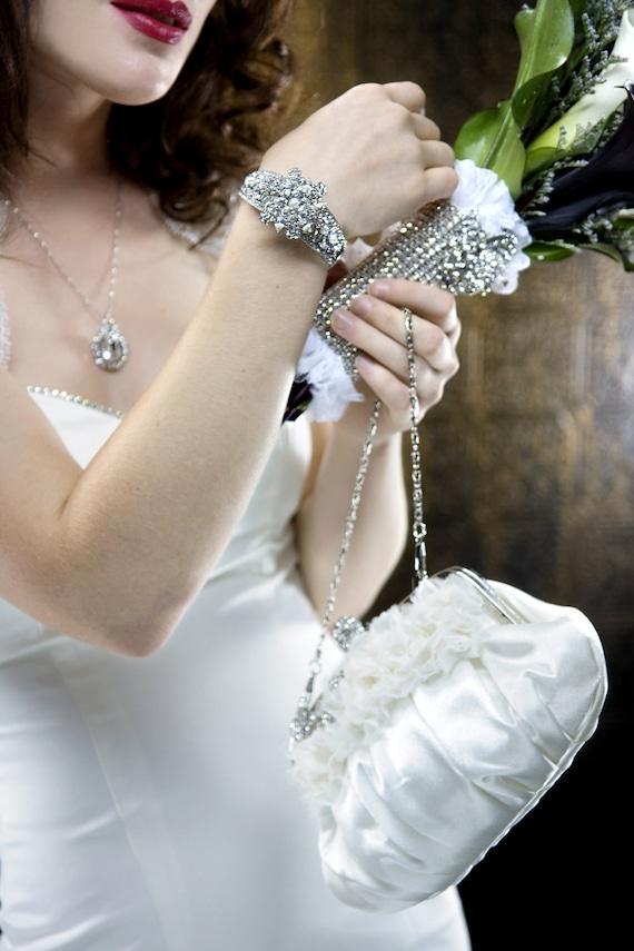 GLAMOUR Свадебная коллекция Rhinestone и Pearl браслет манжеты
