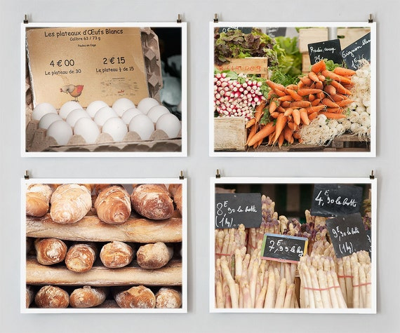 Paris Photography Set, Markets - Fine Art Prints - French Market Photograph - Paris Decor - Kitchen Art and Home Decor