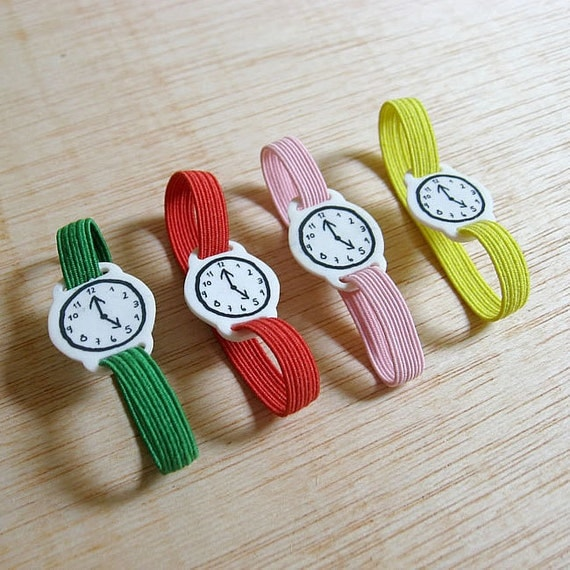 Toy watch with elastic watchband bracelet. One-of-a-kind handmade fake clock.