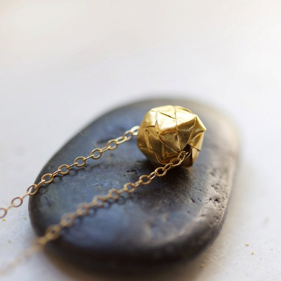 kareshi - modern gold origami necklace by elephantine