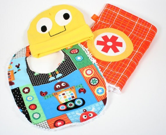 Robot Baby Boy set with Hat, Bib, and Burp cloth
