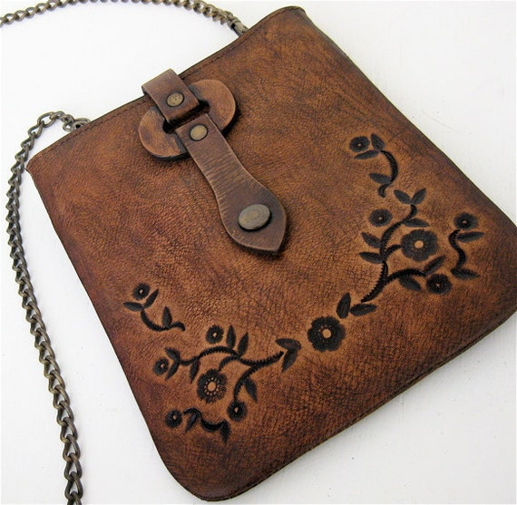 Cross Body Bag Rustic Brown Small Tooled Floral Karen Kell Collection