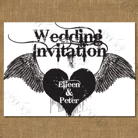 Gothic Style Printable Wedding Invitation From DevilIsInTheDetail