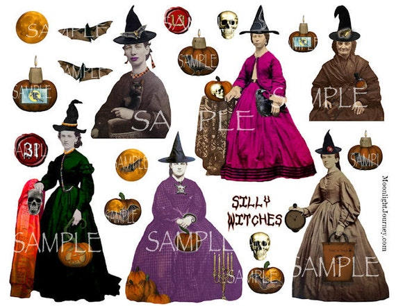 SiLLy WiTcHeS collage sheet large witches warlocks halloween gothic vintage bats jol watch skull