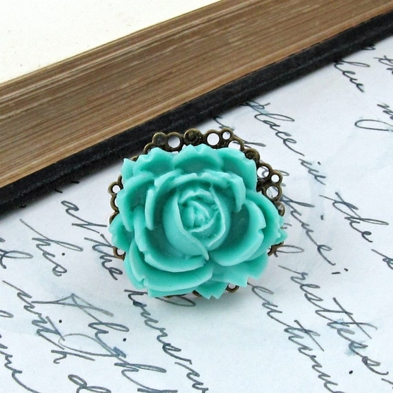 Mint Green Flower Ring Rose Vintage Style Antique Brass Filigree - Mint of a Rose