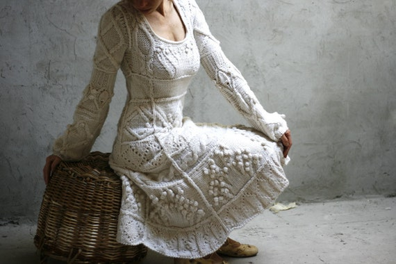 White ivory hand knit dress wedding - custom order