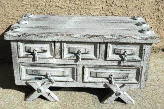 Unique Grey Shabby Chic Jewelry Box
