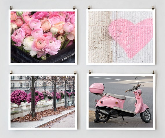 Paris Photography Set, Pink - French Fine Art Photograph Art Prints - Paris Decor and Wall Art - Pink Home Decor - Kids Wall Art