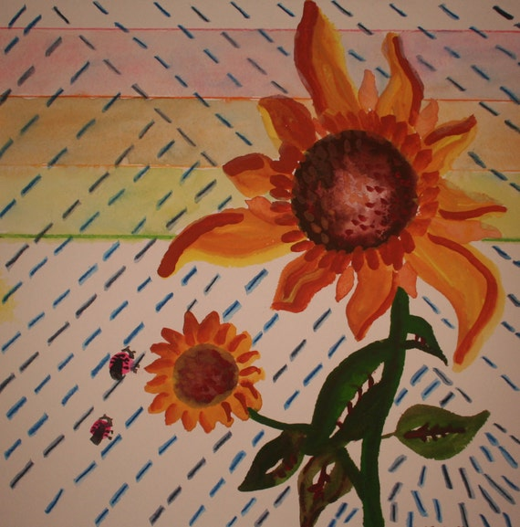 12x12 OOAK Watercolor Painting: Sunflowers in the Rain