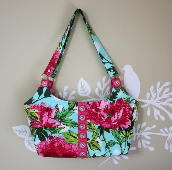 Tote bag / Purse / Amy Butler Soul Blossoms Peony- Amaranth
