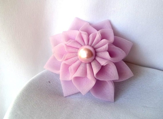 Kanzashi Fabric Hair Flower Lilac Dahlia