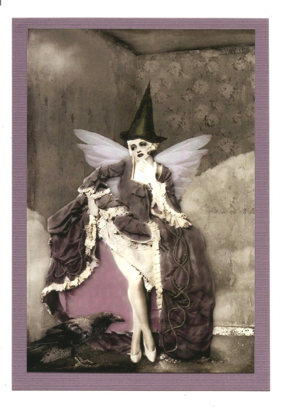 Old World Fairy Witch...Purple Haze...A Magikal Incarnation...Disir... Blank 5x7 Greeting Card