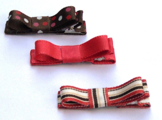 Ribbon Lined Hair Clips Bows--Set of 3 Autumn Colors