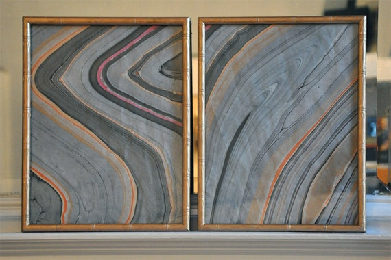 Two Vintage Gilt Bamboo Frames - Hollywood Regency style - marbled paper included