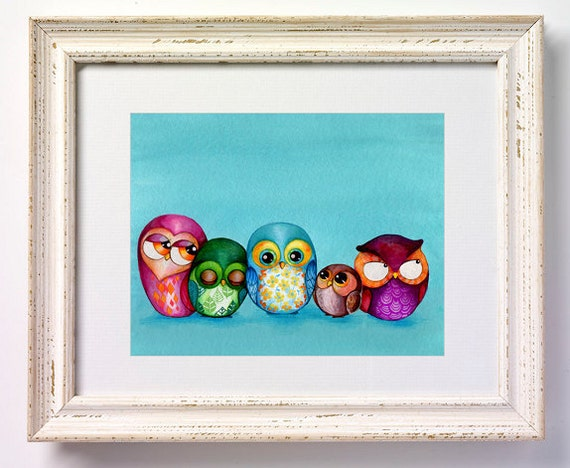 ORIGINAL Painting - Fabric Owl Family