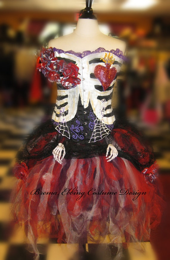 Day of the Dead Costume- Halloween Costume Black Steelboned Corset, Tulle Skirt With Lace Skirt, and Accessories