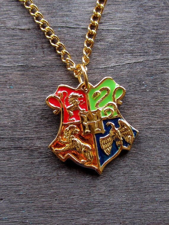 Hogwarts school crest pendant Harry Potter necklace Deathly Hallows Symbol