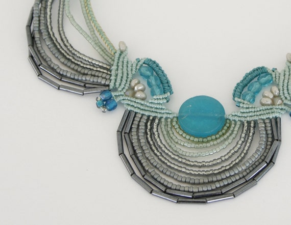 Ocean waves Macrame and beads necklace - Navy Turquoise Gray and blue