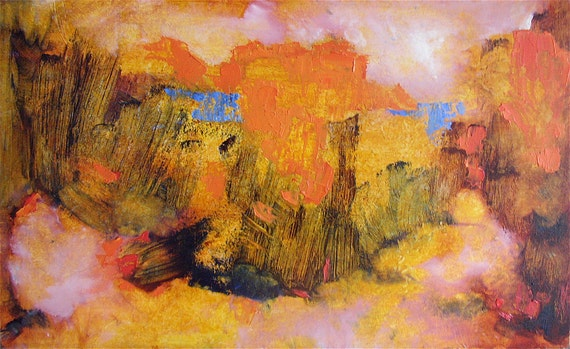 Usher in Autumn, original abstract landscape oil painting