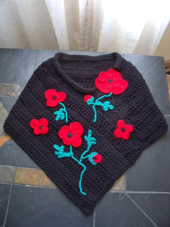 Crochet shoulder cover up poncho Red poppies