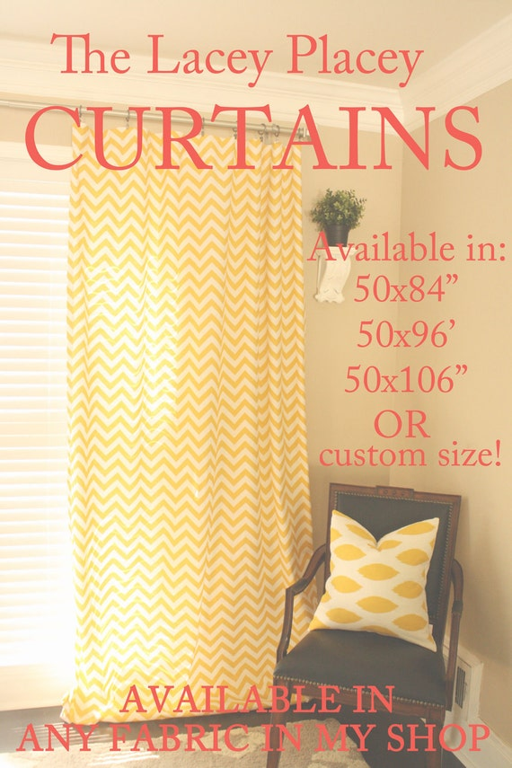 2 Panels of Curtains- YELLOW CHEVRON