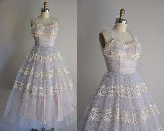 vintage 1950s purple and white Birthday Cake tulle lace party prom dress