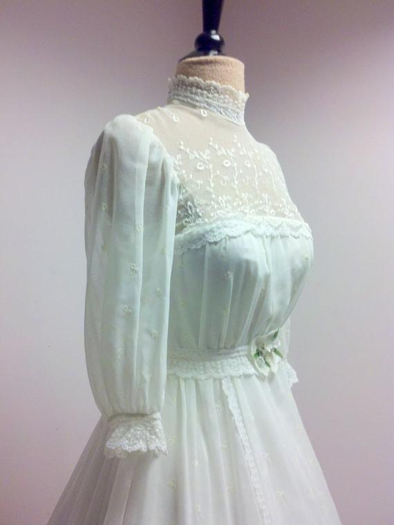 Vintage Edwardian Style White Wedding Gown White Cotton