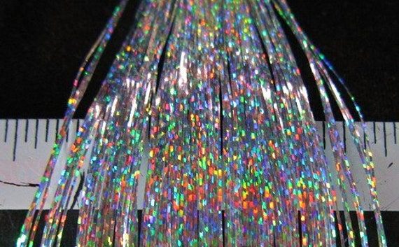 Holographic Sparkle SILVER Metallic Hair Tinsel - just like Bling String and Hair Flair- 40 inches - 8 pieces makes 16 to 32 - FAST SHIPPING