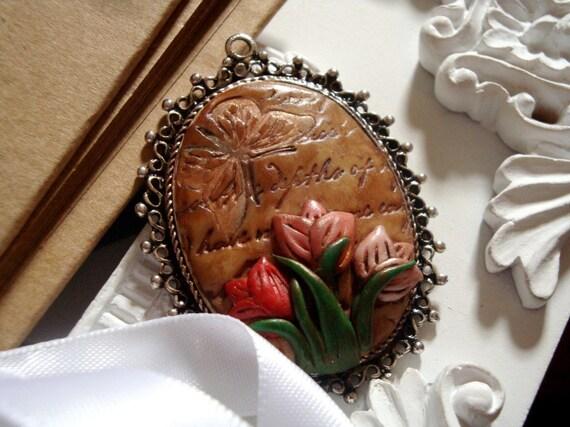 Tulip garden polymer clay pendant
