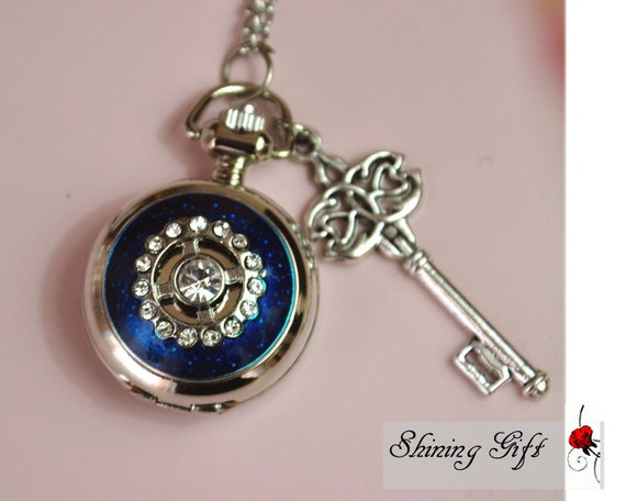 vintage style Pocket watch Locket Necklace, with a loving Key