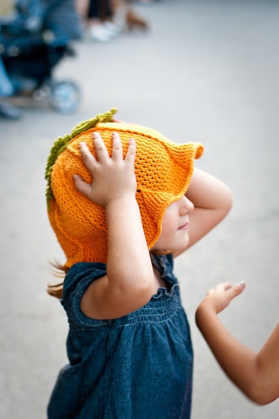 Crochet Funny Pumpkin Hat Girlie Orange Green Autumn Fall Accessories designed by dodofit on Etsy