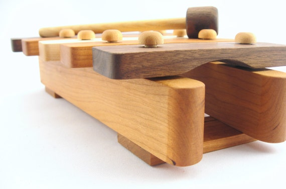 natural wooden xylphone toy - handmade musical piece for the montessori baby, earth friendly with homegrown organic finish