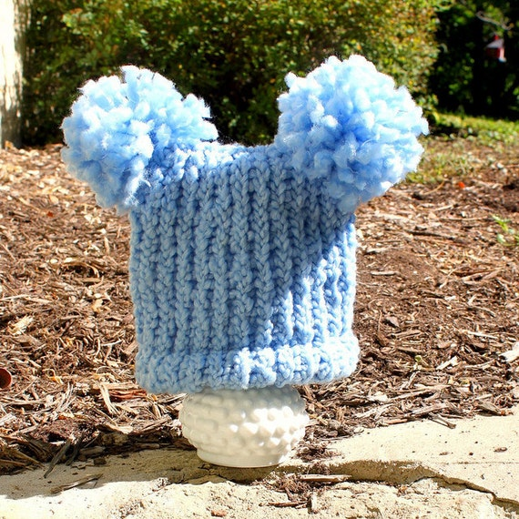 BabyHat - Knit Blue Pom Pom Photo Prop