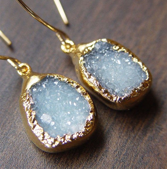 Aqua Blue Druzy Earrings 14k Gold