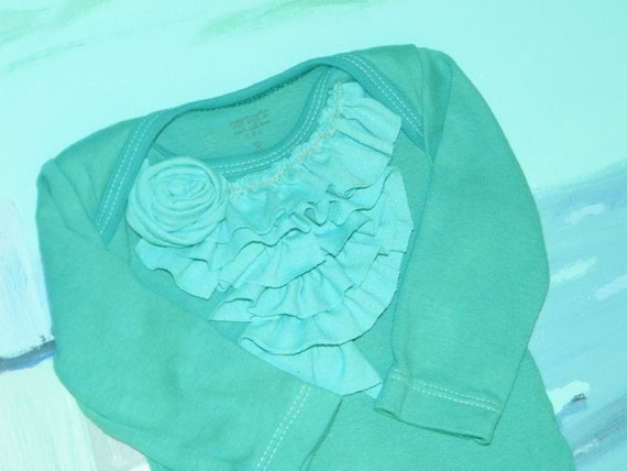 Long sleeve teal girls ruffled onesie with rose size 3 months