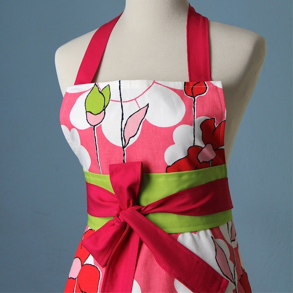 Vintage Bright Floral Full Apron for Women