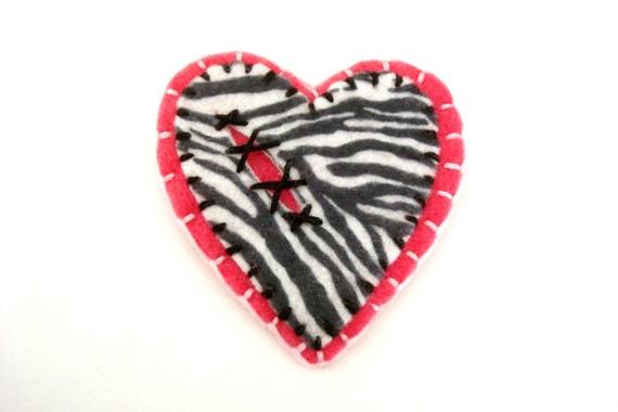 Heart Felt Brooch Zebra Animal Print and Pink