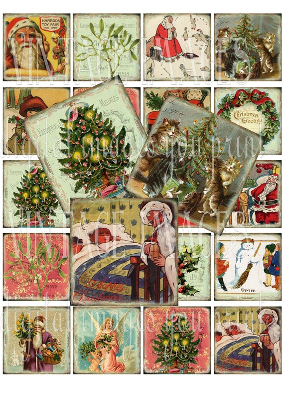 Vintage Christmas digital collage sheet -  20 x 2 inch squares - Holiday Scrapbooking Santa Claus - Buy 1 sheet get another FREE