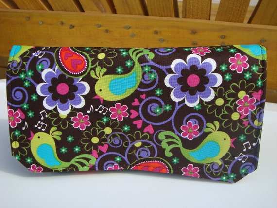 Fabric Coupon Organizer /Budget Organizer Holder - Attaches to Your Shopping Cart - Song Birds