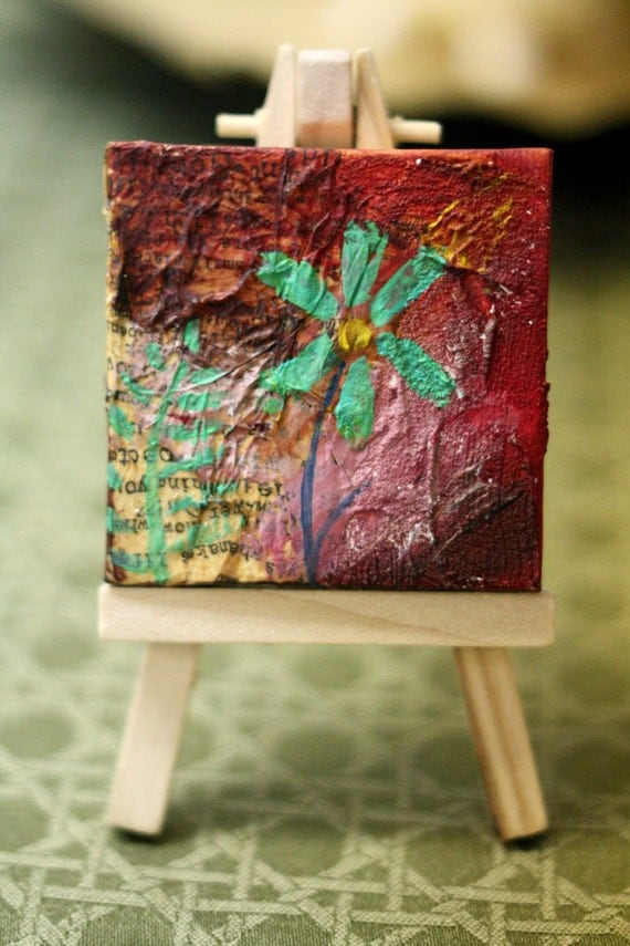 Mini Painting -  Mixed Media - Flower Painting - Small art - Collage - Red - Desktop