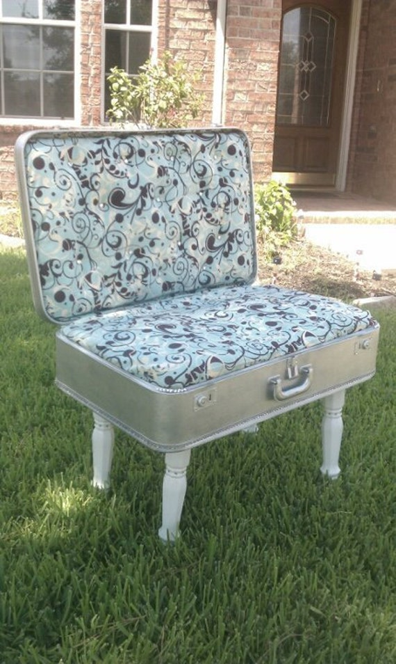 1960's suitcase turned into a chair