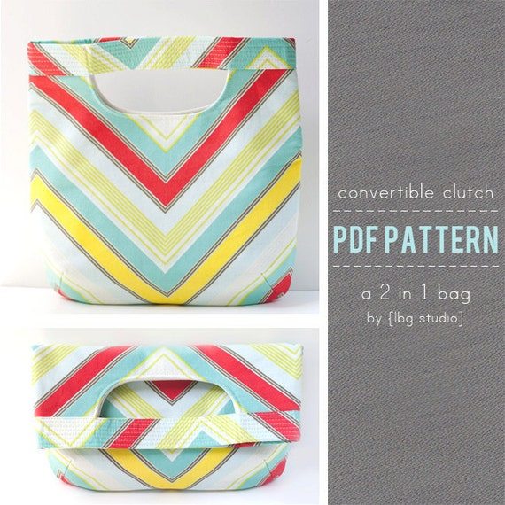 PDF Sewing Pattern - Convertible Clutch/Tote Bag